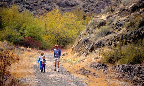 Man & Children on the Cowiche Canyon Trail.